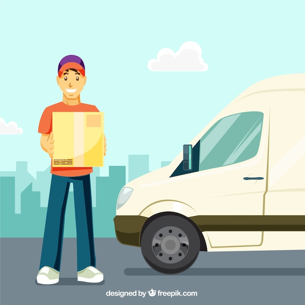 Flat delivery man and truck Free Vector