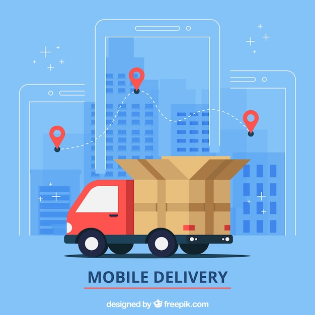 Flat delivery truck in the city Free Vector