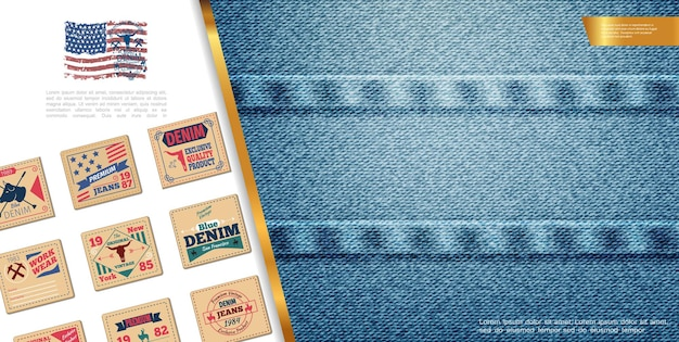 Flat denim colorful composition with classic jeans emblems and denim elegant texture illustration Free Vector