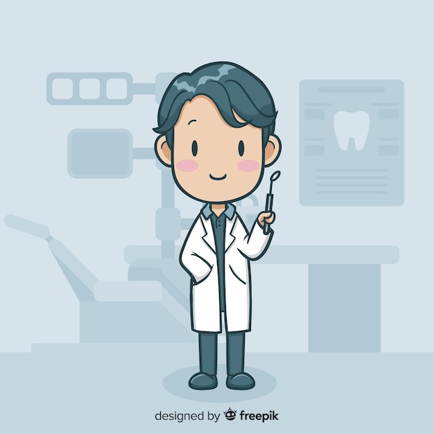 Flat dental character Free Vector