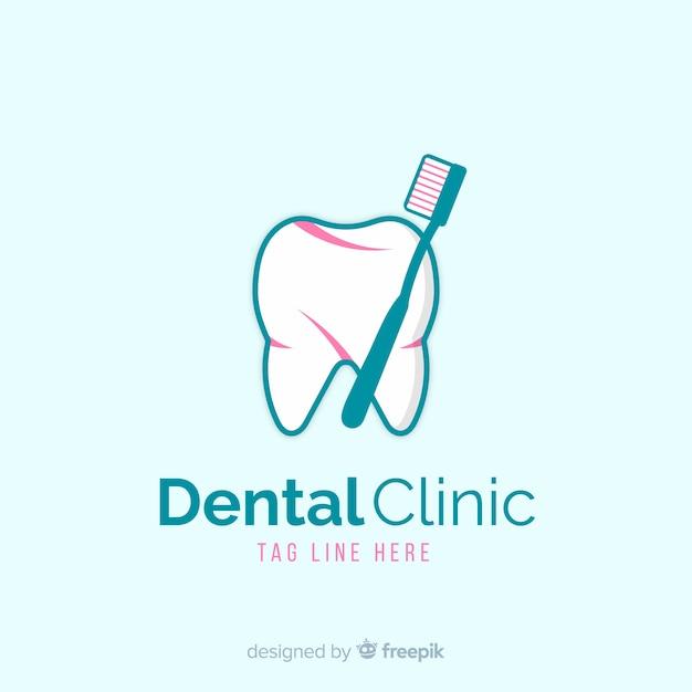 Flat dental clinic logo Free Vector