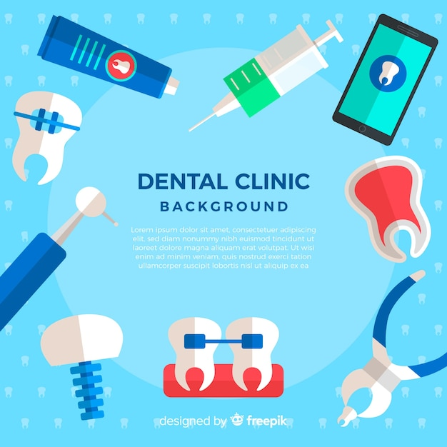 Flat dentist background Free Vector
