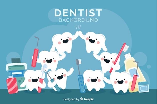 Flat dentist background Free Vector