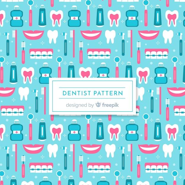 Flat dentist pattern Free Vector