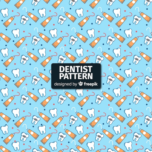 Flat dentist pattern Free Vector