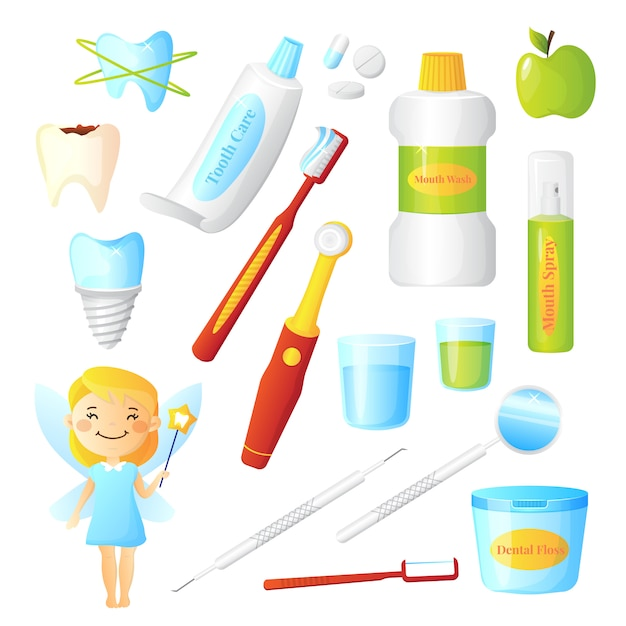 Flat dentist set for dental care hygiene and healthy teeth with tooth fairy and equipment Free Vector