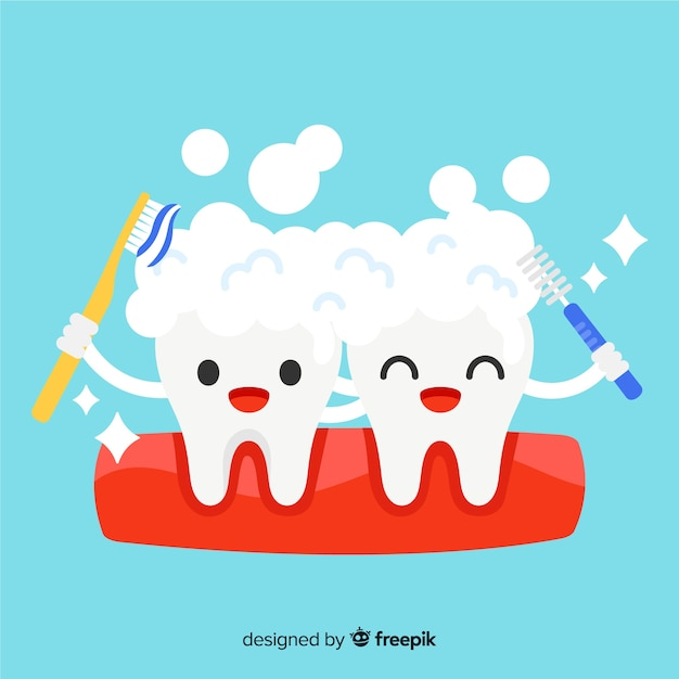 Flat dentist taking care of a tooth background Free Vector