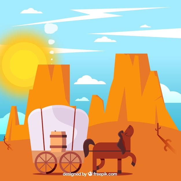 Flat desert background with horse and\ carriage