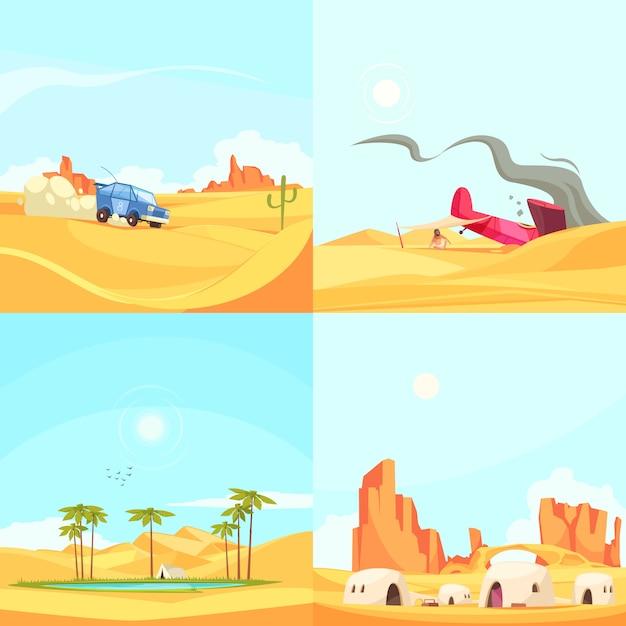 Концепция дизайна flat desert Бесплатные векторы