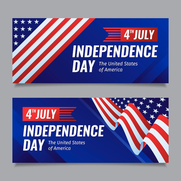 Flat design 4th of july - independence day banners pack Free Vector