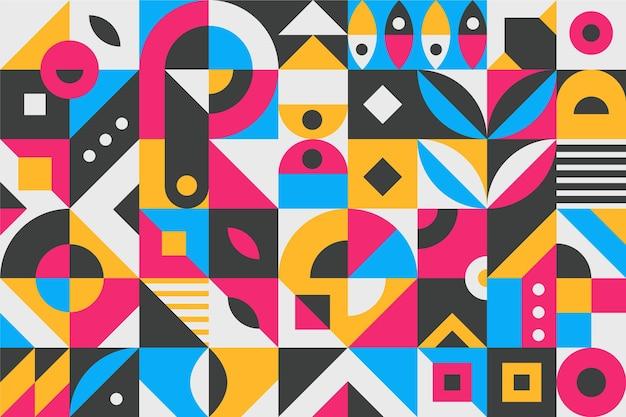 フラットなデザインの抽象的なカラフルな幾何学的形状 無料ベクター