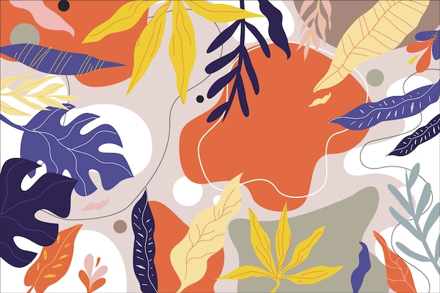 Flat design abstract floral background Premium Vector