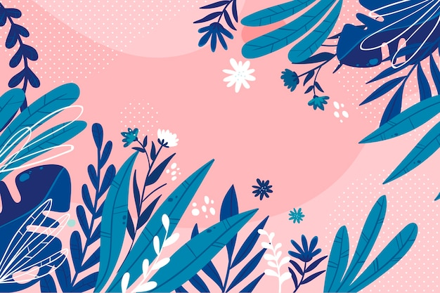 Flat design abstract floral background Free Vector