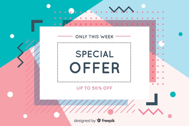 Flat design abstract sale background Free Vector
