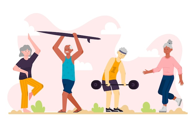 Flat design active elderly people collection Free Vector