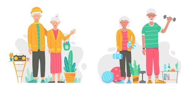 Flat design active elderly people pack Free Vector