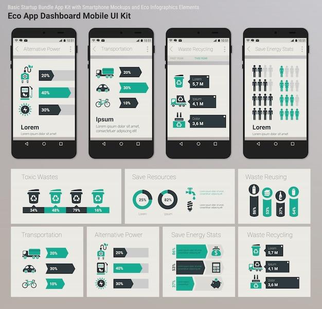 Плоский дизайн admin dashboard eco new energy инфографика ui мобильное приложение Premium векторы