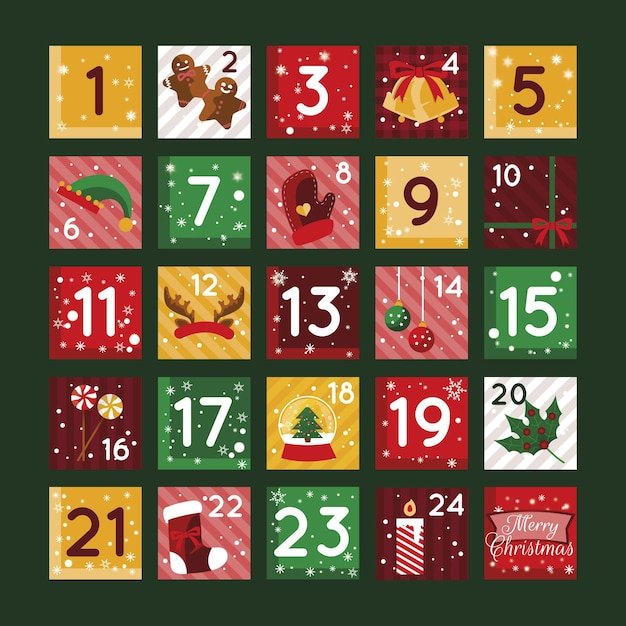 Flat design advent calendar illustration Premium Vector