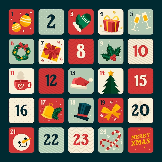 Flat design advent calendar with christmas elements Free Vector