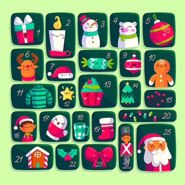 Flat design advent calendar with decoration Free Vector