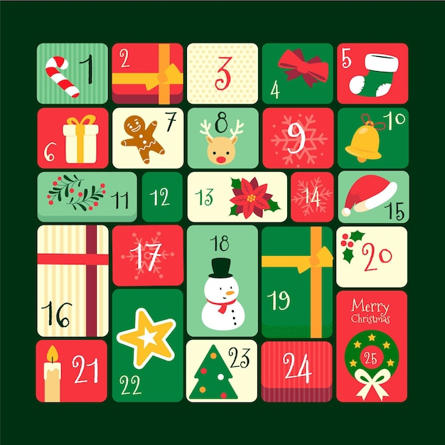 Flat design advent calendar Free Vector