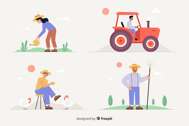 Flat design of agricultural workers set Free Vector