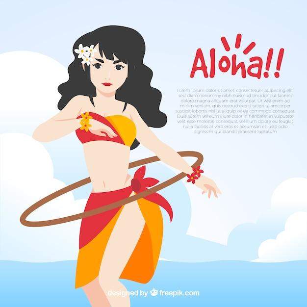 Flat design aloha dancer background