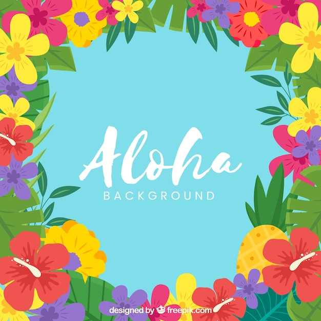 Flat design aloha flowers background