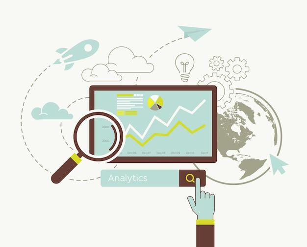 Flat design of analytic search information website Premium Vector