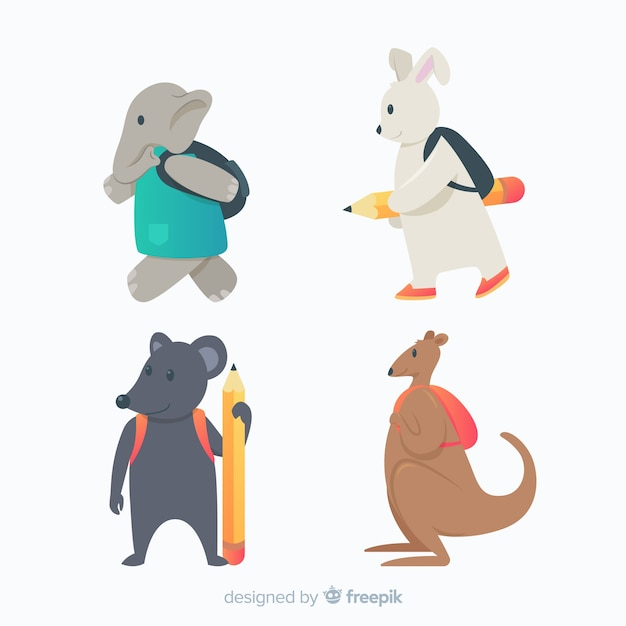 Flat design animals going back to school Free Vector