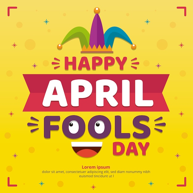 Flat design april fools day celebration Free Vector