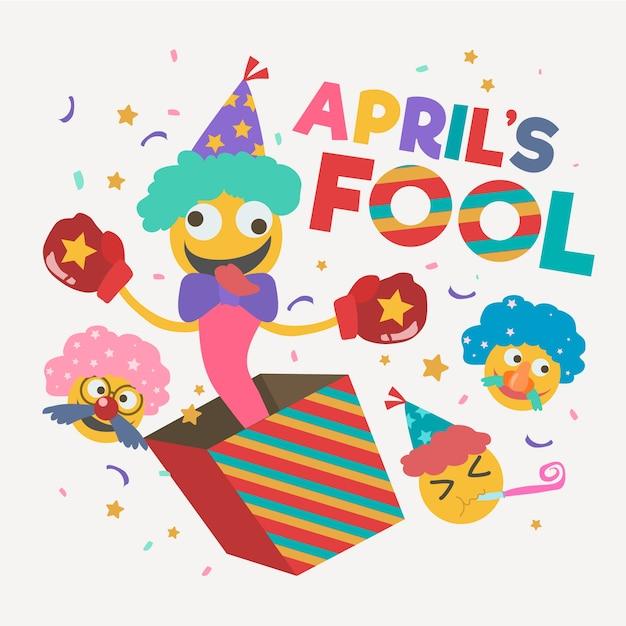 Flat design april fools day event Free Vector