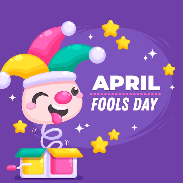 Flat design april fools day theme Free Vector