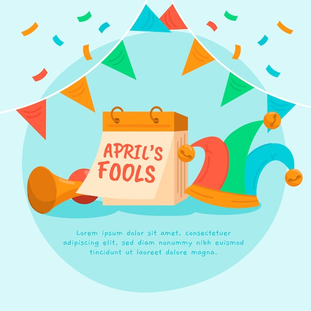 Flat design april fools day Free Vector