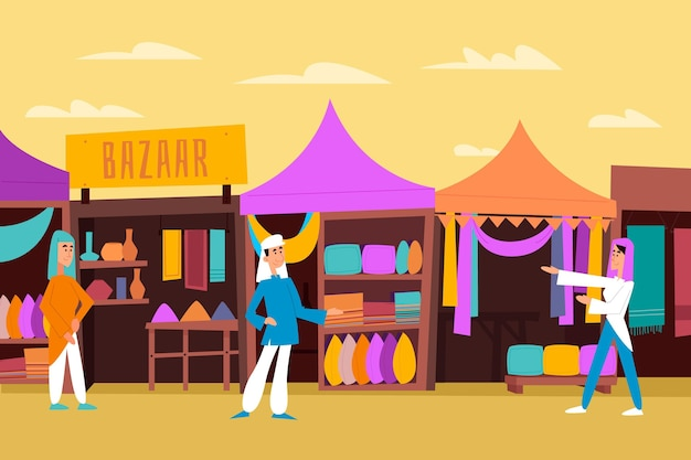 Плоский дизайн арабский базар иллюстрация с персонажами и палатками Бесплатные векторы