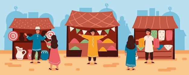 Плоский дизайн арабский базар иллюстрация с людьми и палатками Бесплатные векторы