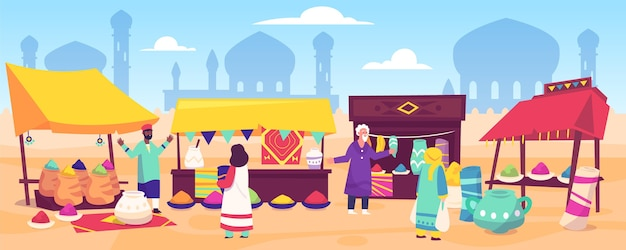 Плоский дизайн арабского базара Бесплатные векторы