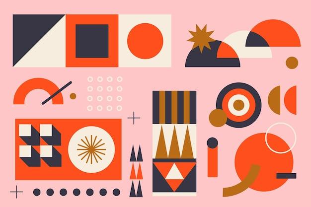 Плоский дизайн расположения различных геометрических элементов Бесплатные векторы