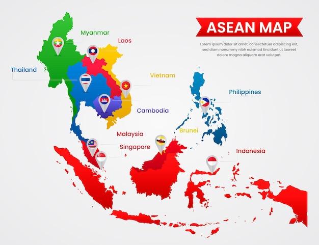 Flat design asean map illustration Premium Vector