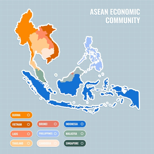 Flat design asean map illustration Free Vector