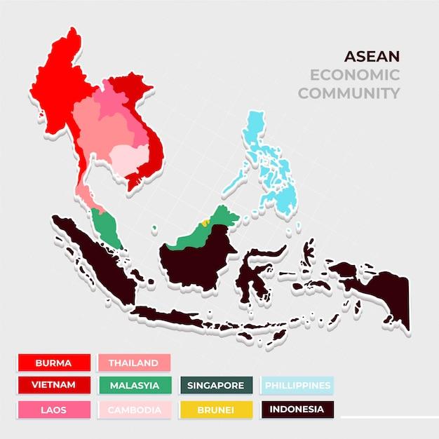 Flat design asean map Free Vector