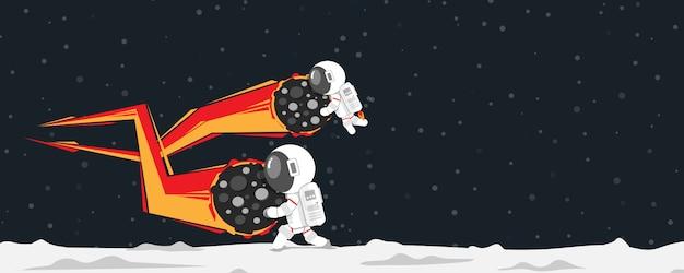 Плоский дизайн, астронавты разбивают метеорит, падающий на планету, векторная иллюстрация, инфографики элемент Premium векторы