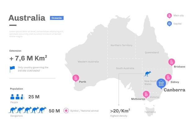 Плоский дизайн австралии карта инфографики Бесплатные векторы