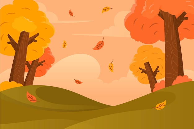 Flat design autumn background with colorful trees Free Vector