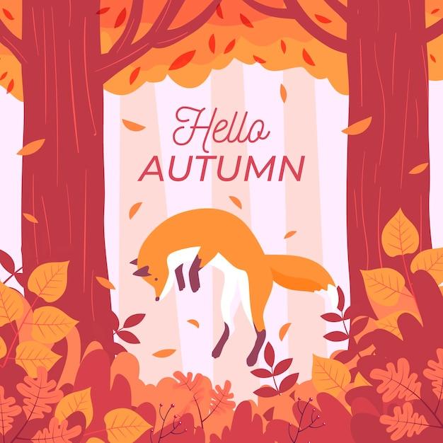 こんにちは秋のメッセージとフラットなデザインの秋の背景 無料ベクター