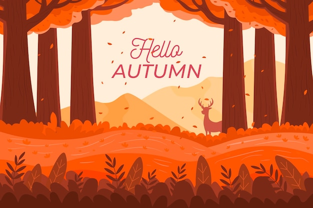 こんにちは秋のテキストとフラットなデザインの秋の背景 無料ベクター