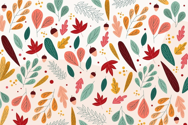 Flat design autumn background with leaves Free Vector