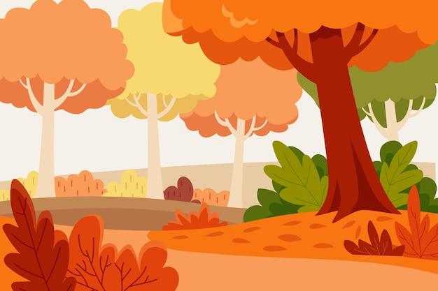 Flat design autumn background Free Vector