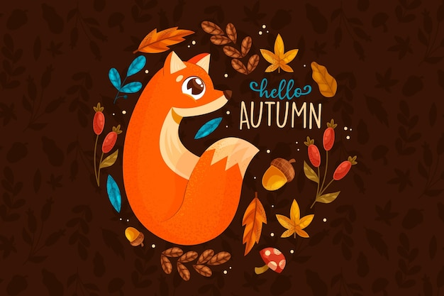 Flat design autumn background Free Vector