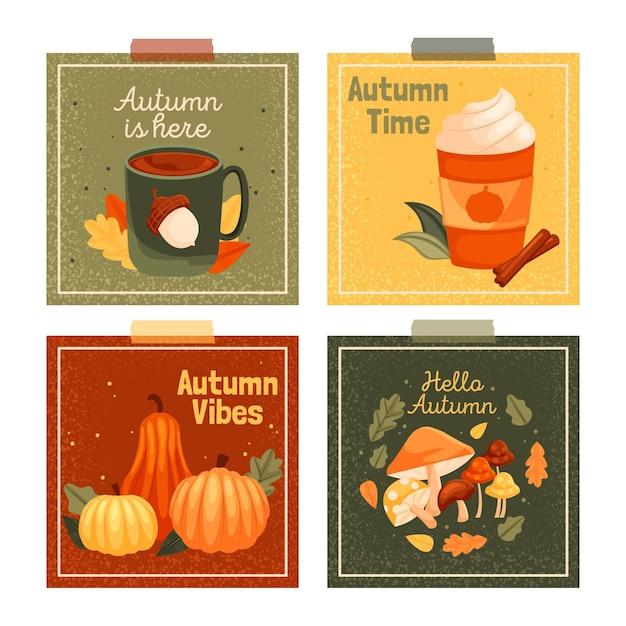 평면 디자인 가을 카드 컬렉션 무료 벡터